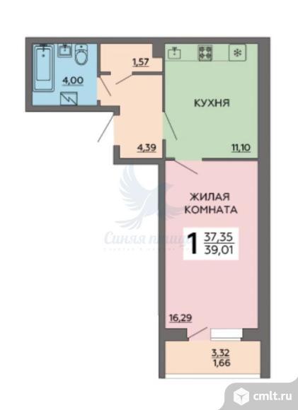 1-комнатная квартира 39,01 кв.м. Фото 1.