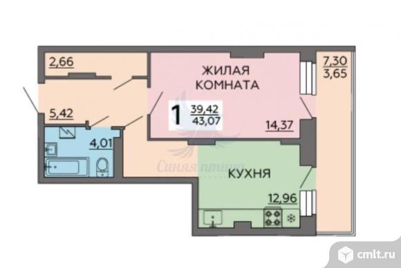 1-комнатная квартира 43,07 кв.м. Фото 1.