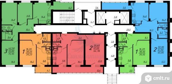 1-комнатная квартира 39,23 кв.м. Фото 1.