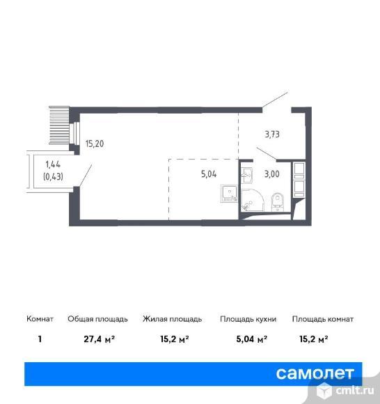 1-комнатная квартира 27,4 кв.м. Фото 1.