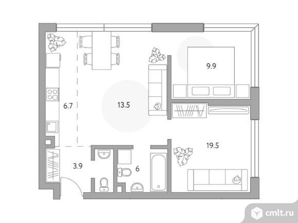 3-комнатная квартира 59,5 кв.м. Фото 1.