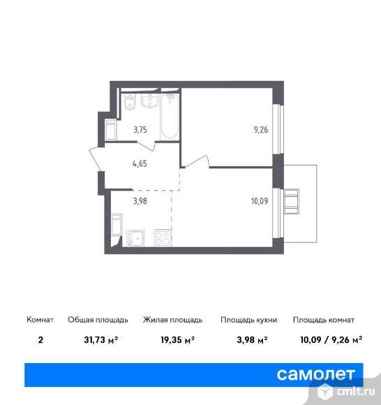 2-комнатная квартира 31,73 кв.м. Фото 1.