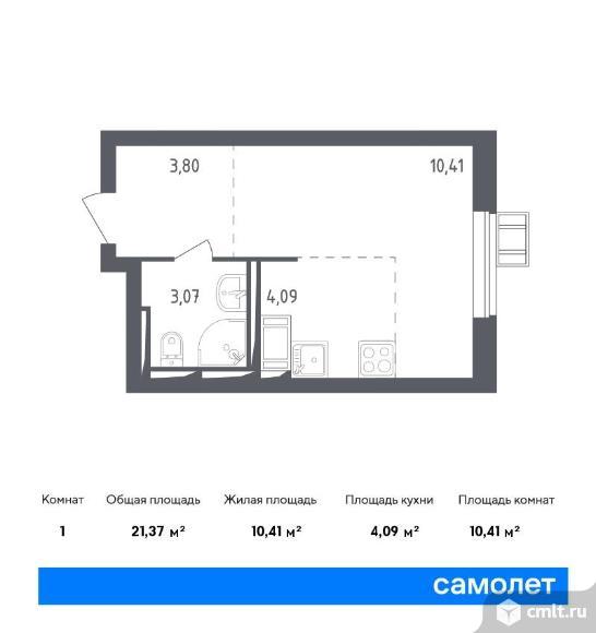 1-комнатная квартира 21,37 кв.м. Фото 1.