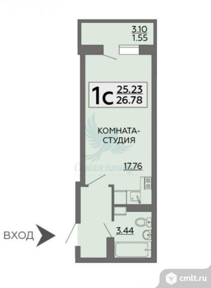 1-комнатная квартира 26,78 кв.м. Фото 1.