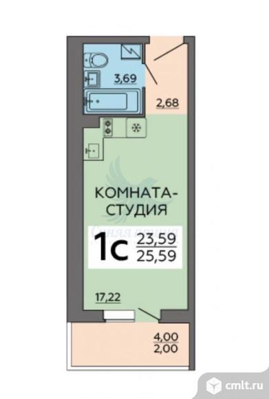 1-комнатная квартира 25,59 кв.м. Фото 1.