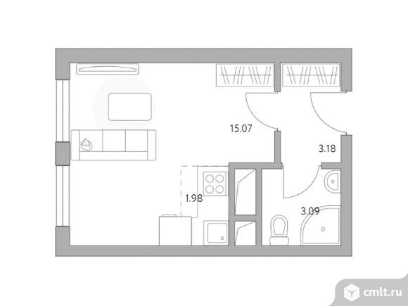 1-комнатная квартира 23,32 кв.м. Фото 1.