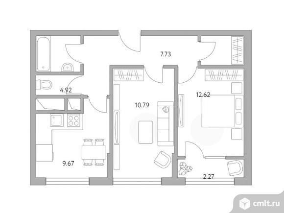 2-комнатная квартира 50,41 кв.м. Фото 1.