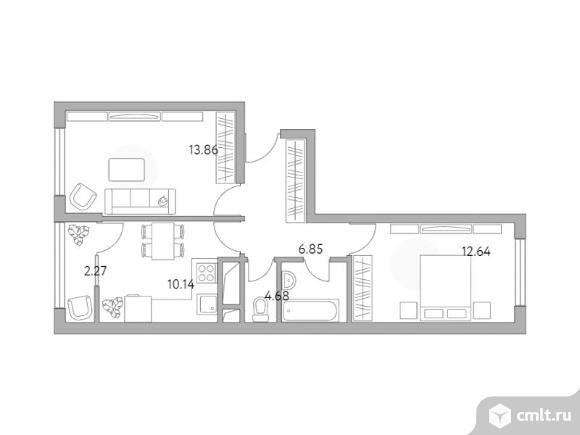2-комнатная квартира 50,44 кв.м. Фото 1.