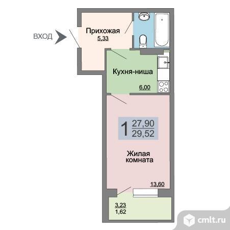 1-комнатная квартира 29,5 кв.м. Фото 17.