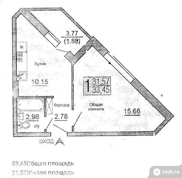 1-комнатная квартира 33,45 кв.м. Фото 2.