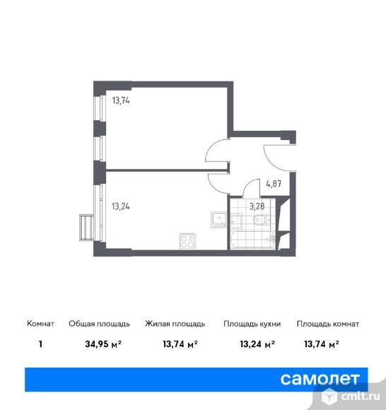 1-комнатная квартира 34,95 кв.м. Фото 1.