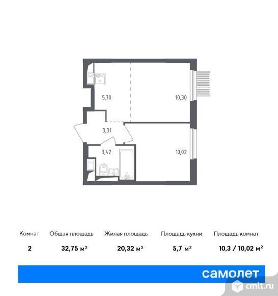 2-комнатная квартира 32,75 кв.м. Фото 1.