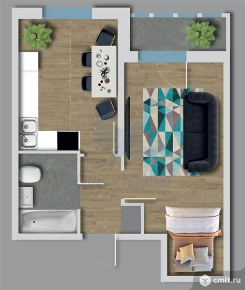 1-комнатная квартира 41,25 кв.м. Фото 3.