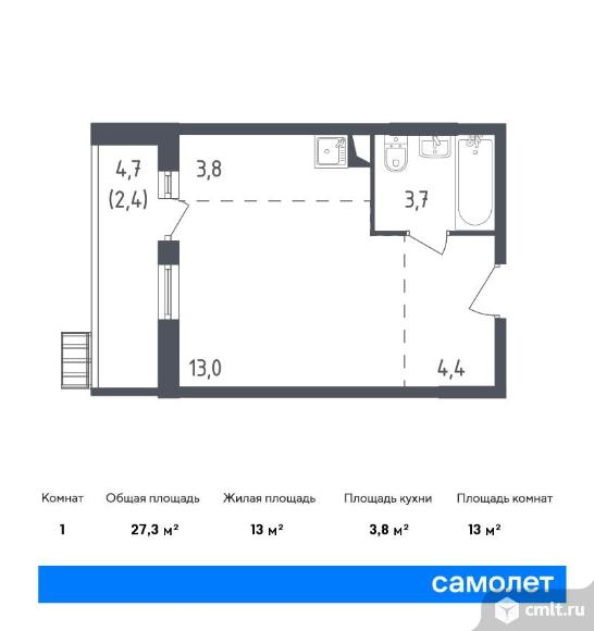1-комнатная квартира 27,3 кв.м. Фото 1.