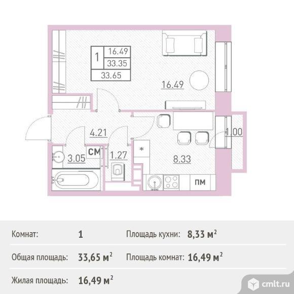 1-комнатная квартира 33,65 кв.м. Фото 1.