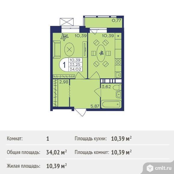 1-комнатная квартира 34,02 кв.м. Фото 1.