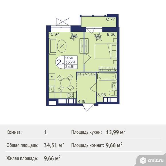 1-комнатная квартира 34,51 кв.м. Фото 1.