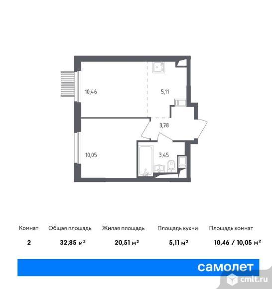 2-комнатная квартира 32,85 кв.м. Фото 1.
