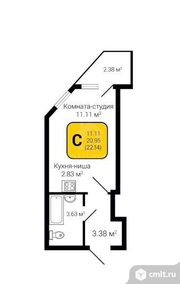 1-комнатная квартира 22,14 кв.м. Фото 1.