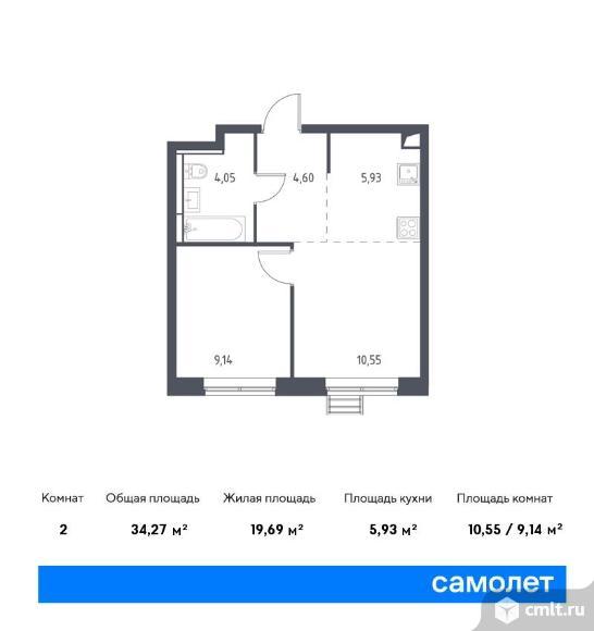 2-комнатная квартира 34,27 кв.м. Фото 1.