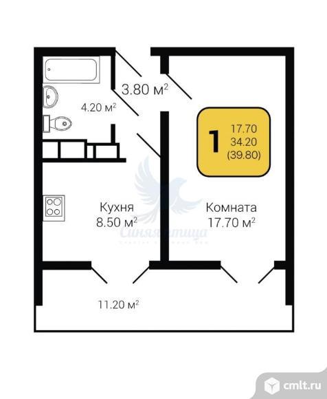 1-комнатная квартира 39,8 кв.м. Фото 4.