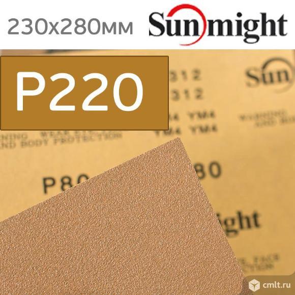 Наждачная бумага сухая SunMight Р220 золотистая. Фото 1.
