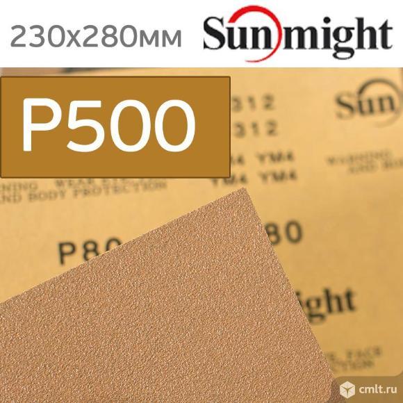 Наждачная бумага сухая SunMight Р500 золотистая. Фото 1.