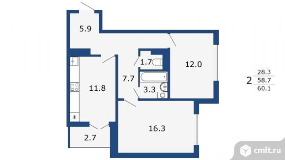 2-комнатная квартира 60,1 кв.м. Фото 1.