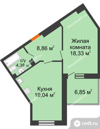 1-комнатная квартира 53,56 кв.м. Фото 12.