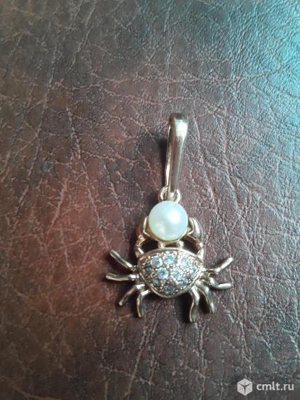 Кулон/подвеска Краб с жемчужиной серебро 925 пробы Кокошник. Позолота. Фото 1.