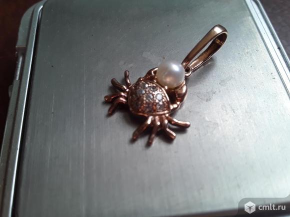 Кулон/подвеска Краб с жемчужиной серебро 925 пробы Кокошник. Позолота. Фото 7.