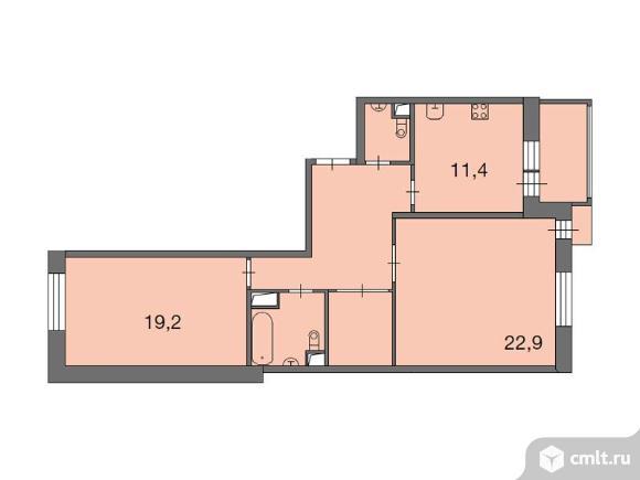 2-комнатная квартира 77 кв.м. Фото 1.