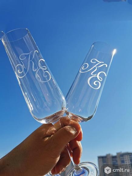 Гравировка на свадебных бокалах. Фото 6.