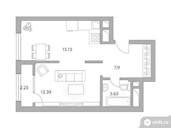 1-комнатная квартира 42,32 кв.м. Фото 1.