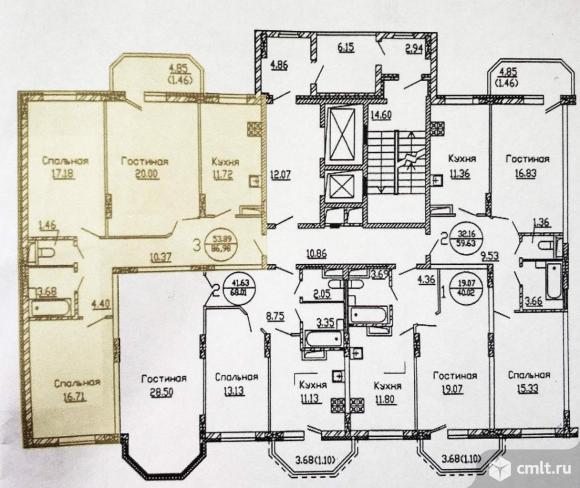 Продается 3-комн. квартира 87 кв.м.. Фото 1.