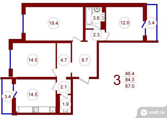 3-комнатная квартира 87 кв.м. Фото 1.