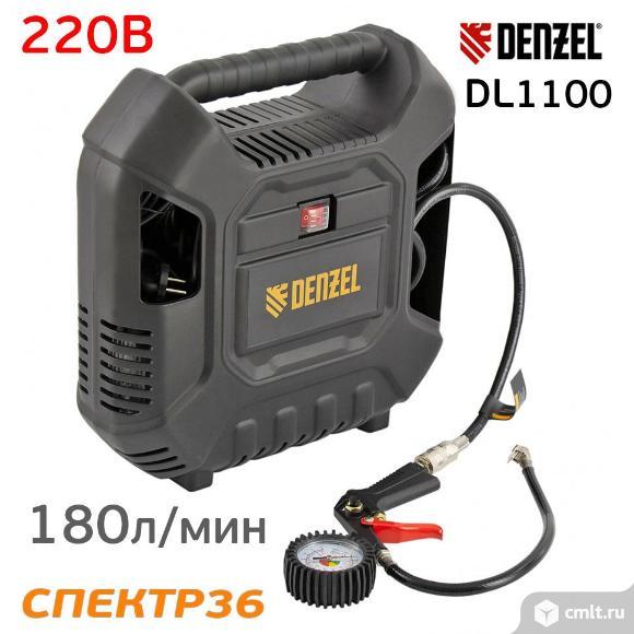 Компрессор мобильный Denzel DL1100 (220В, 180л/мин, 1.1кВт). Фото 1.