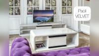 современная дизайнерская мебель для гостиной velvet paoli: тв тумбы, журнальные столы, паркет, диван, декор, двери, телевизор