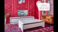 дорогая дизайнерская мебель 3d-modo paoli для современной гостиной: тумбы под телевизор,  журнальные столы, кресло, ковер, лепнина, телевизор, торшер