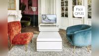 видео дизайнерской мебели opus paoli для дорогой классической гостиной: тв тумбы, телевизор, кресла, декор, лепнина, журнальные столики, камин, паркет