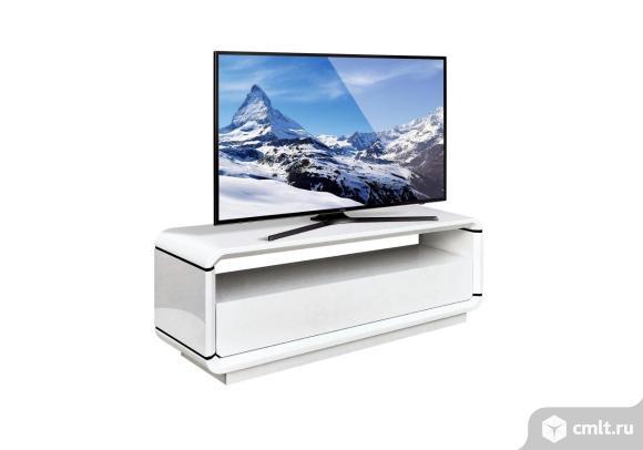 тв тумба под телевизор в стиле минимализм, белый глянец, напольная opus uno paoli