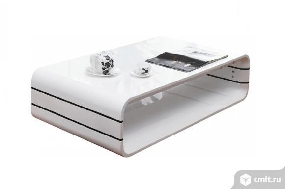 журнальный стол белый, большой, глянцевый opus paoli