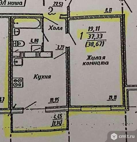 1-комнатная квартира 37,5 кв.м. Фото 13.