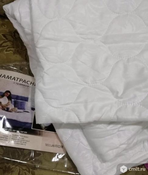 Наматрасник (Топпер) Эко на 4 резинках 160x200 см, новый. Фото 1.