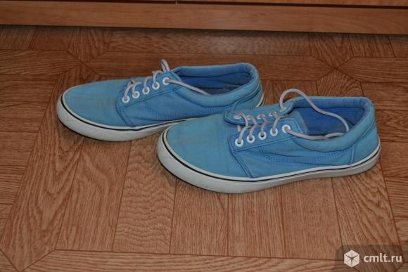 Кроссовки матерчатые, синие в отличном состояниии. Фото 2.