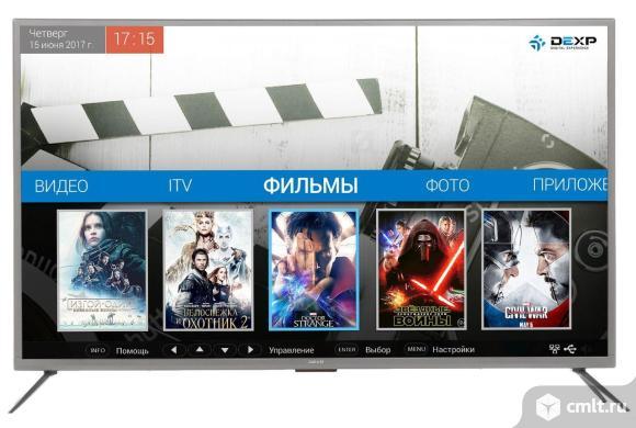 """Как новый Smart 4K UHD 50"""" (127 см) Телевизор LED DEXP U50E9000Q серый. Фото 1."""
