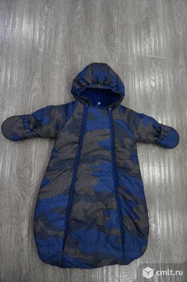Мягкий утепленный комбинезон - конверт синий хаки. Фото 1.