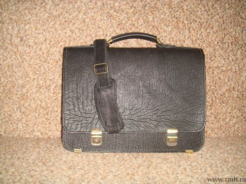 Портфель кожанный черный. Фото 3.