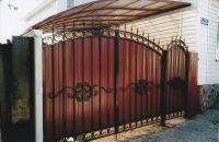 Навес: материал - поликарбонат, ворота, калитка