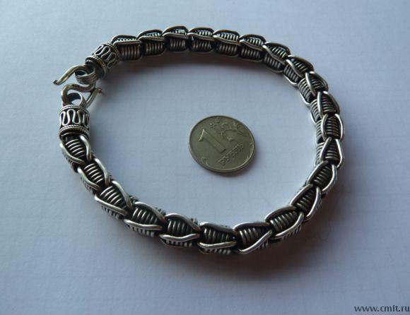 Серебрянный браслет. Камбоджа. (Ручная работа) 50 гр.. Фото 1.